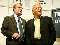 Greg Dyke joins Charles Kennedy at a news conference