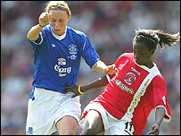 Lindsay Johnson of Everton battles with Eniola Aluko of Charlton