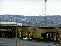 Remnants of the stand that burned down at Valley Parade