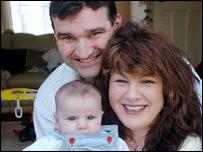 Julie Garrett with her partner, Gary McDonnell and their son Ryan