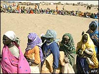 Refugees in a Darfur camp