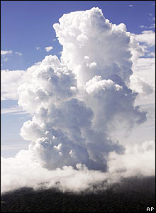 Steam billows above Mount Manaro on Ambae island