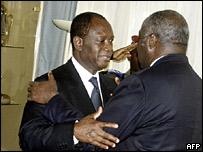Former prime minister Alassane Ouattara (left) and Ivorian president Laurent Gbagbo