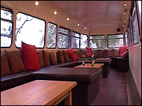 The top deck of the Red Room bar bus