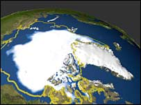 Image showing reduction in Arctic ice.  Image: Nasa/AFP/Getty