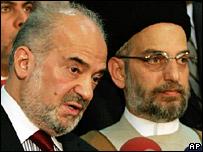 Ibrahim al-Jaafari (L) and Abd al-Aziz al-Hakim