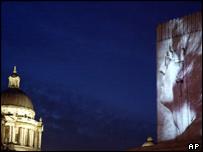 John Lennon projection in Liverpool
