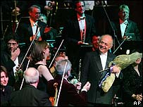 Lorin Maazel with flowers following his 75th birthday concert