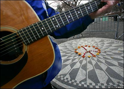 Guitar player at  Strawberry Fields, Central Park, New York