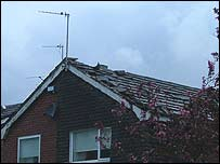 House damaged by the tornado - picture courtesy of James Holden