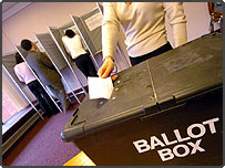 Casting a vote in a polling station