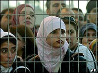 Palestinians at Qalandiya crossing