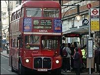 A Routemaster stops at Marble Arch on Oxford Street