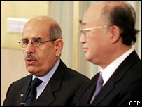Mohamed ElBaradei and Yukiya Amano, chairman of IAEA board