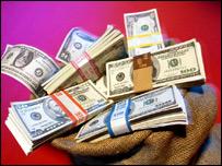 Bag full of dollar bills