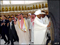 Saudi Arabia's King Abdullah and other Muslim leaders visit the Great Mosque of Mecca