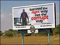 Anti-corruption sign in Zambia