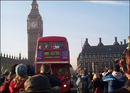 A Routemaster on Westminster Bridge (photo: Mark Parsons)
