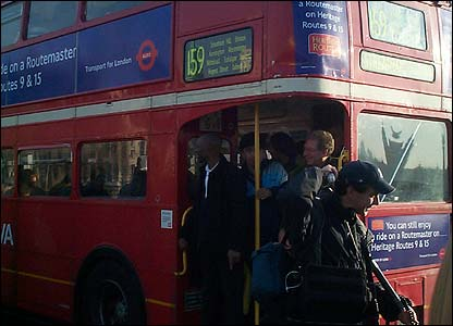 Bus enthusiasts board a Routemaster (photo: Mark Parsons)