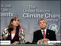 US negotiators Paula Dobriansky and Harlan Watson in Montreal