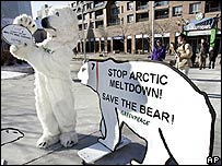 Environmentalist in bear suit protests outside the Montreal conference