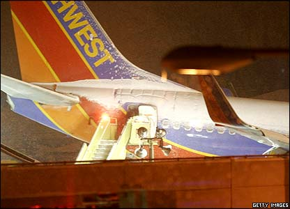 Southwest Airlines plane after it skidded off the runway in Chicago