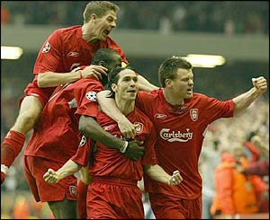 Liverpool's players celebrate Luis Garcia's goal