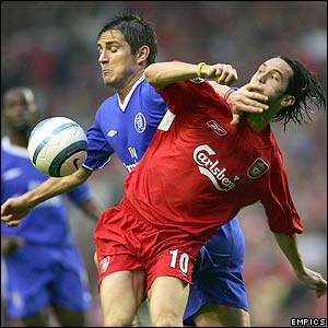 Frank Lampard and Luis Garcia clash