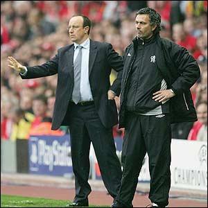 Liverpool's Rafael Benitez and Chelsea's Jose Mourinho