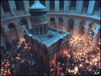 An Orthodox celebration in the Church of the Holy Sepulchre in Jerusalem