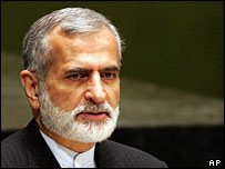 Iranian Foreign Minister Kamal Kharrazi speaks at a UN conference on nuclear non-proliferation