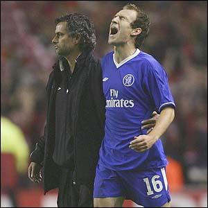 Chelsea's Jose Mourinho and Arjen Robben