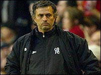 Jose Mourinho looks on as Chelsea crash out of Europe