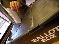 Voter placing vote in ballot box