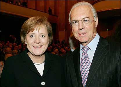 Angela Merkel and Franz Beckenbauer