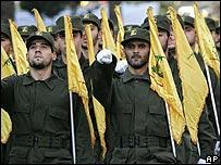 Hezbollah guerrillas on parade