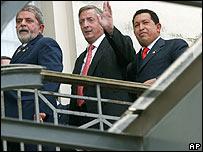Lula da Silva, Néstor Kirchner y Hugo Chávez