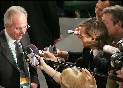 Sven-Goran Eriksson speaks to the media