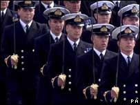 Naval officers in ceremonial uniform
