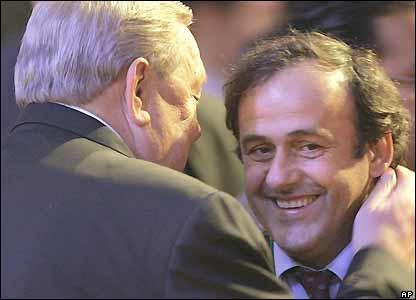 Uefa president Lennart Johannsen greets Michel Platini