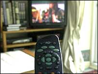 A remote control in front of a TV