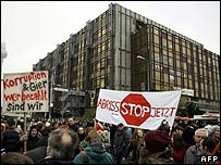 Protesters outside the Palace of the Republic in Berlin, Germany