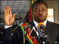 Faure Gnassingbe taking the oath of office in February