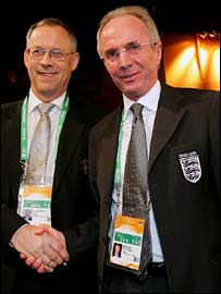 Sweden coach Lars Lagerback (left) with England coach Sven-Goran Eriksson
