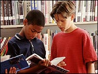 Boys in a library