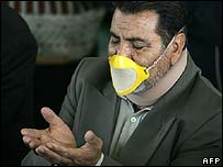 Man wearing a mask during Friday prayers in Tehran, Iran