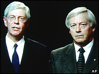 Malcolm Wood, left, and his brother Vernon appear on television in an appeal for the release of their elder brother, Douglas, 04/05/2005