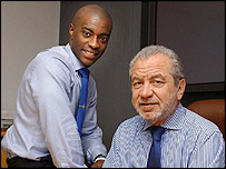 The Apprentice winner Tim Campbell and Sir Alan Sugar