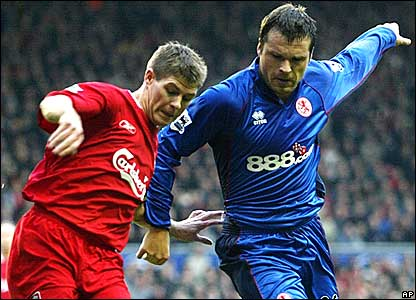 Liverpool captain Steven Gerrard battles with Boro's Mark Viduka