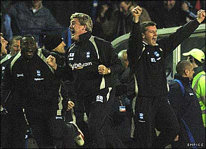 The Birmingham bench celebrate Nicky Butt's winner